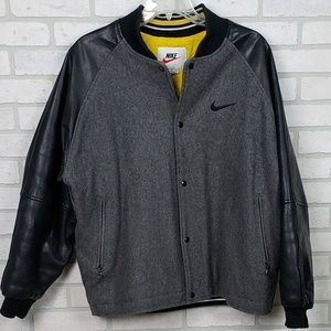 Nike Men's Leather and Wool Jacket Gray/Black LG